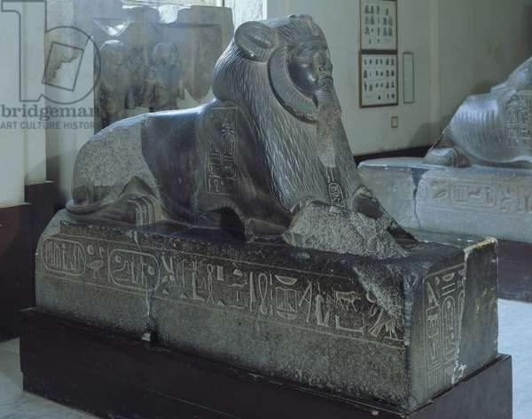 Egyptian antiquite: representation of the pharaoh Amenemes (Ammenemes or Amenemhat or Amenemhet) III (1843-1797 BC) in sphinx. Granite sculpture. 12th dynasty, Middle Empire. from Tanis. Museum of Egypt, Cairo