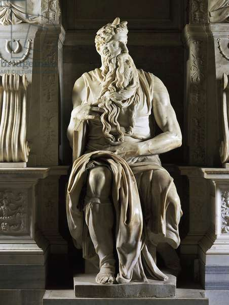 Moses of Michelangelo Buonarroti called Michael Angel (Michelangelo or Michelangelo, 1475-1564). Mausoleum of Jules II. 1513, San Pietro in Vincoli, Rome.