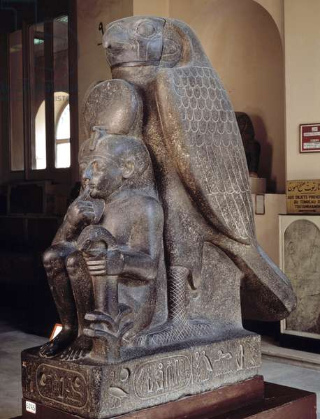 Ancient Egypt: Ramses II as a child with the god Houroun, Tanis. Cairo, Museum of Egypt.