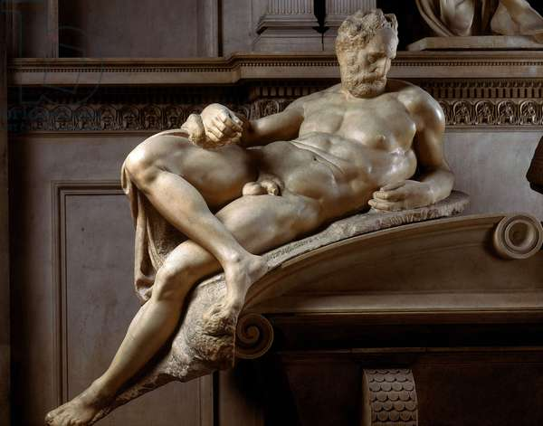 The Dusk: detail of the tomb of Laurent de Medicis in the chapel of the Medici, 1520-1534. Sculpture of the Renaissance by Michelangelo Buonarroti called Michelangelo (Michelangelo or Michelangelo, 1475 - 1564). Church of San Lorenzo, Florence.