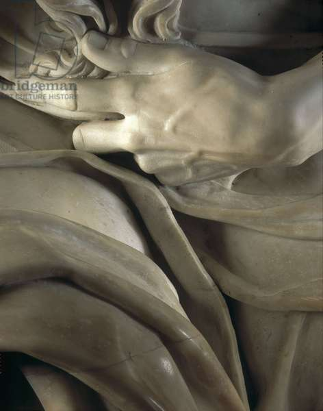 Renaissance art: Left hand of Moses, Detail of the Mausolee of Jules II to the Church of San Pietro in Vincoli, Chapel della Rovere in Rome. Sculpture by Michelangelo Buonarroti called Michelangelo (Michelangelo or Michelangelo, 1475 - 1564), 1513-1545