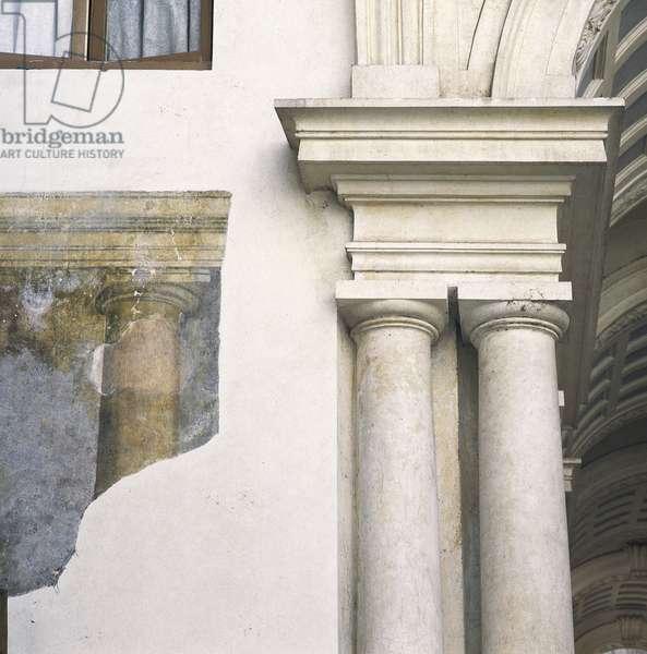 Baroque art: Galleria Prospettica, Palazzo Spada (Prospettica Gallery), Rome. Detail. Architecture by Francesco Borromini (1599-1667), 1632-1635