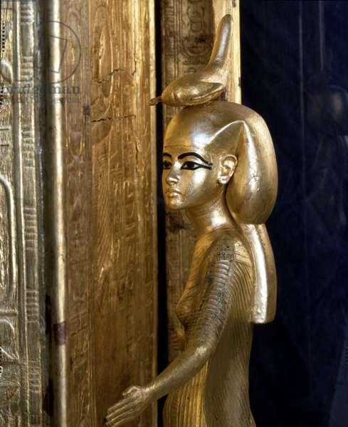 Cairo Museum, Egypt: Goddess Selket on Tutankhamun's canopy box, detail.