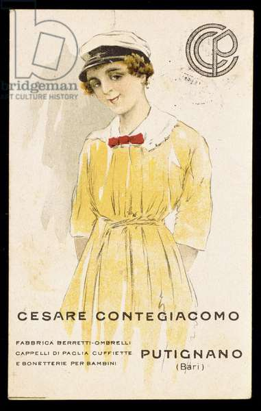 Advertising for manufacturers of hats, berets and umbrellas of Cesare Contegiacomo: a little girl wearing a sailor's cap. 20th century.
