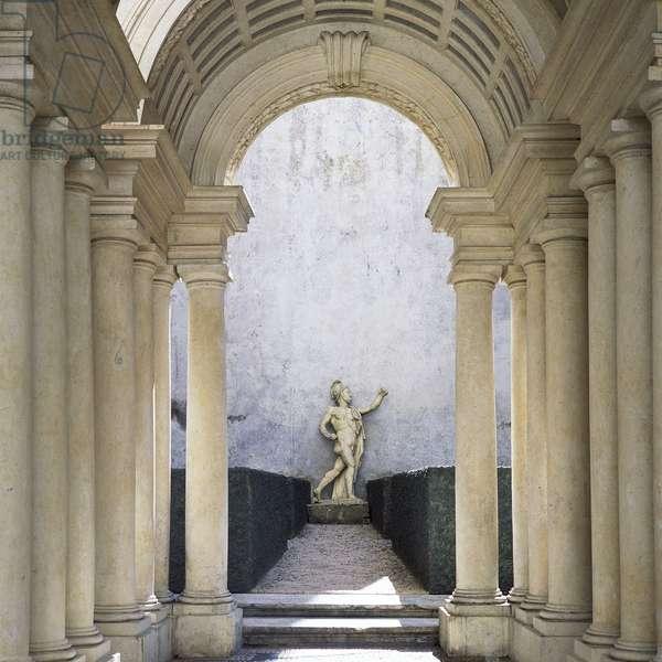 Baroque art: Galleria Prospettica, Palazzo Spada (Prospettica Gallery), Rome. Architecture by Francesco Borromini (1599-1667), 1632-1635