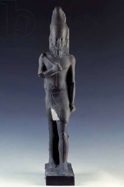 Antiquite Egyptian: Basalt statue of King Raneferef (or Neferefre), 5th dynasty, Old Empire. from Abousir. Museum of Egypt, Cairo