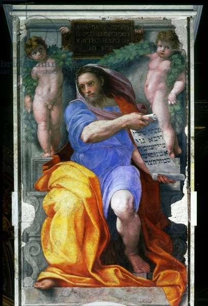 The prophet Isaiah. Painting by Raphael (Raffaello Sanzio 1483 - 1520), 1512. Fresco of the Church of Sant Agostino, Rome, Italy