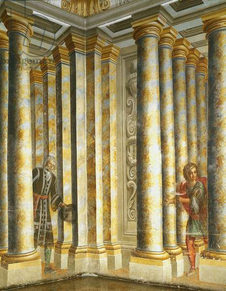 Trompe l'oeil fresco of Villa Paveri Fontana with two characters between columns. Painting by Ferdinando Maria Galli, known as Bibiena (1657-1743) 1739 a Collecchio.