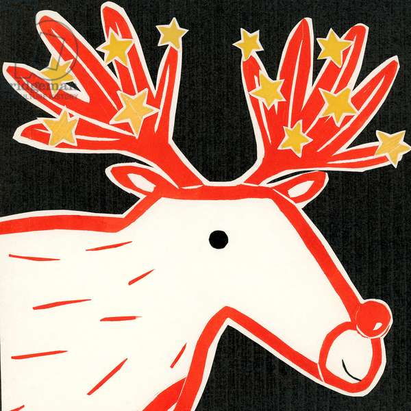 Christmas reindeer 2019 collagraph collage