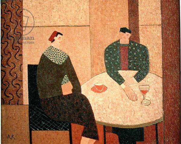 Two Seated Figures, 1999 (oil on canvas)