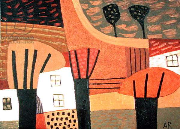 Trees, Fields and Houses, 1998 (oil on paper)