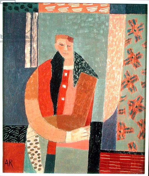 Figure Holding Spotted Cloth, 1999 (oil on board)