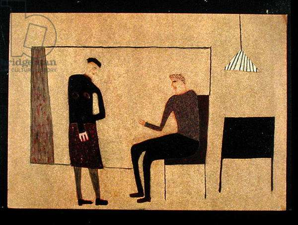Two Figures Talking, 2000 (oil on paper)
