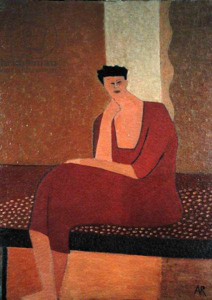 Seated Woman in Red, 1999 (oil on card)