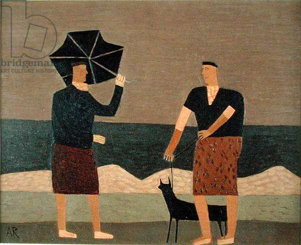 Two Figures, Umbrella and Dog, 2000 (oil on board)