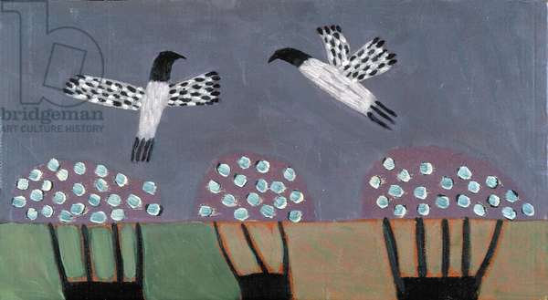 Birds and Trees, 2000 (oil on cardboard)