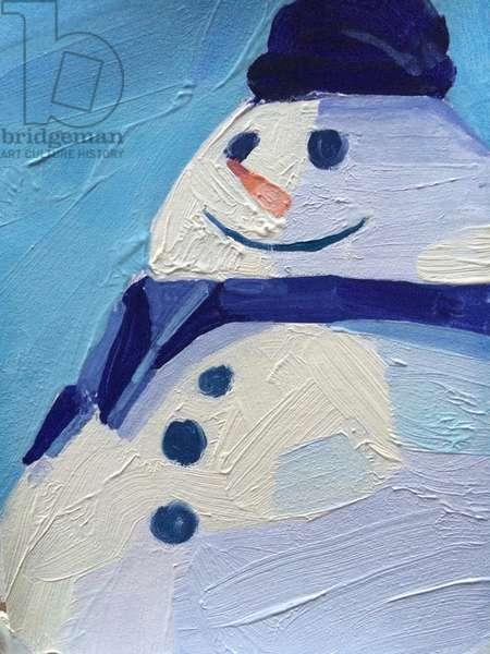 Snowman, 2015, (oil on paper)