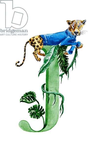 J Jaguar in a Jumper, 2019, (watercolour and ink)