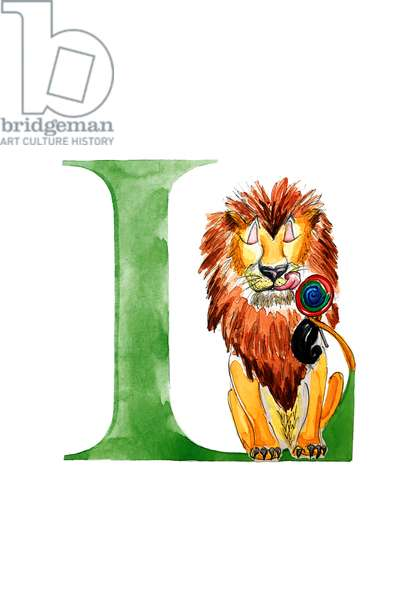 L Lion with a Lollipop, 2019, (watercolour and ink)