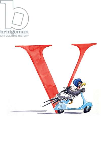 V Vulture on a Vespa, 2018, (watercolour and ink)