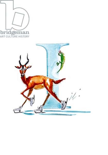 I Ice Skating Impala, 2019, (watercolour and ink)