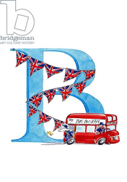 B British Bus, 2018, (watercolour and ink)