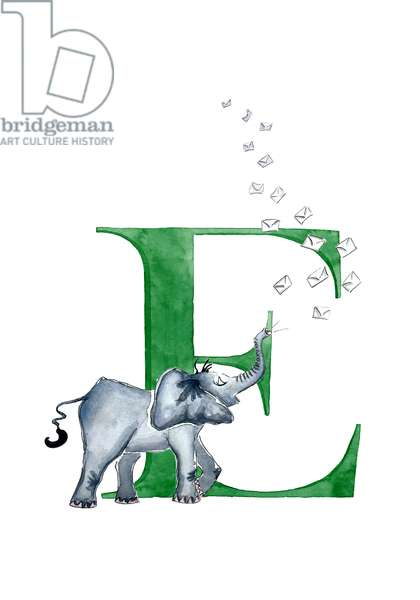 E Elephant blowing Envelopes, 2019, (watercolour and ink)