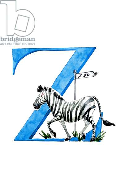 Z Zippy Zebra, 2019, (watercolour and ink)