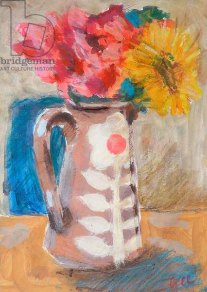 The Floral Jug, 2017, (acrylic and pastel on paper)