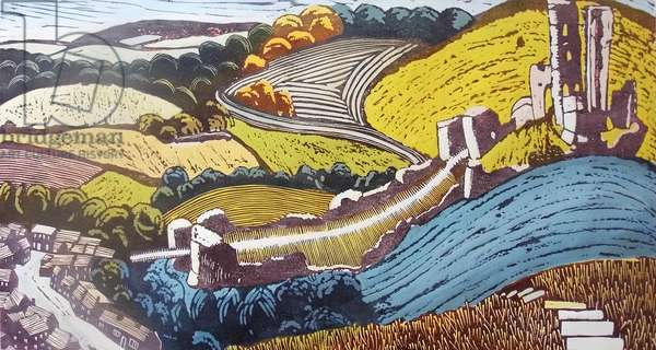 Corfe Castle, 2007 (gouache/linocut)