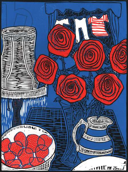 Still life with Roses, 2014, (linocut)