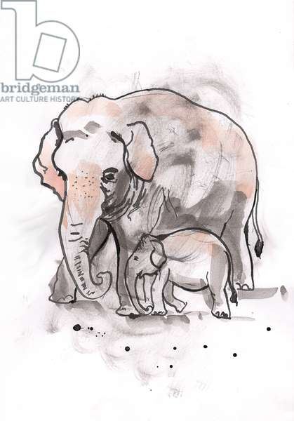 Elephant and Calf, 2014, (watercolour)