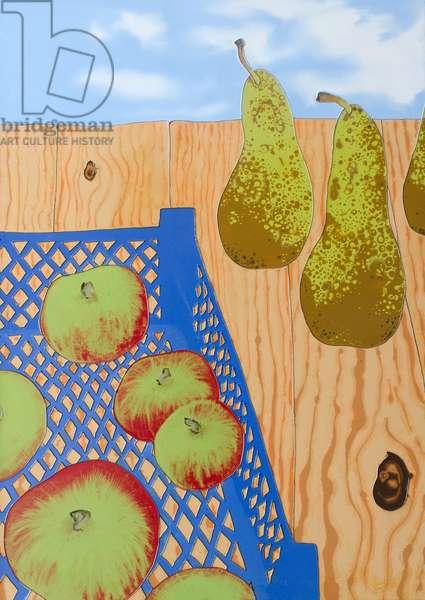 Blue basket of Apples, 2008, (oil on plywood)