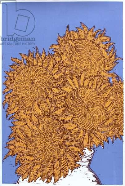 Sunflowers, 2016, (linocut)