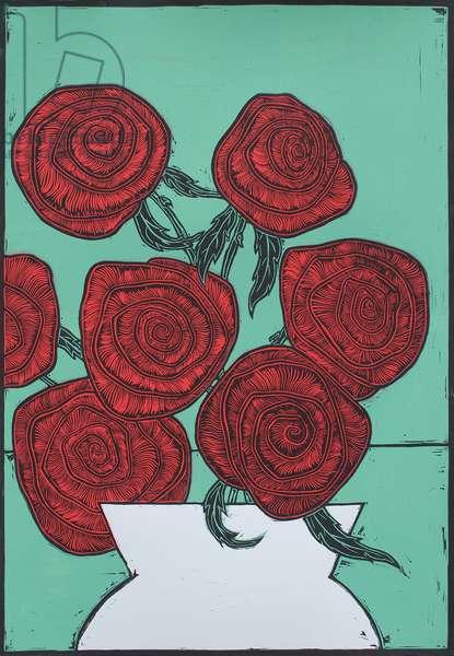 Red Roses, 2016, (linocut)