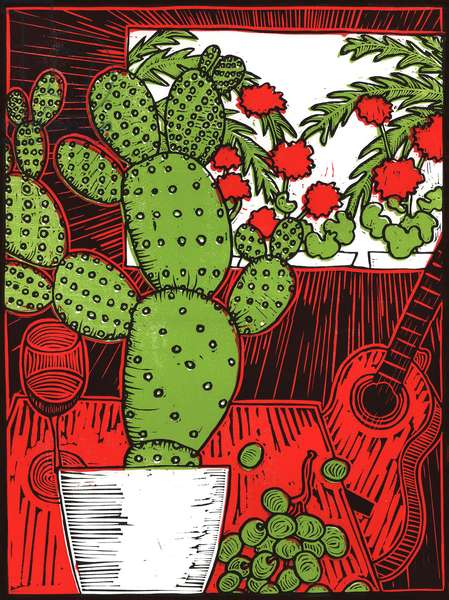 Still life with Cactus, 2014, (linocut)