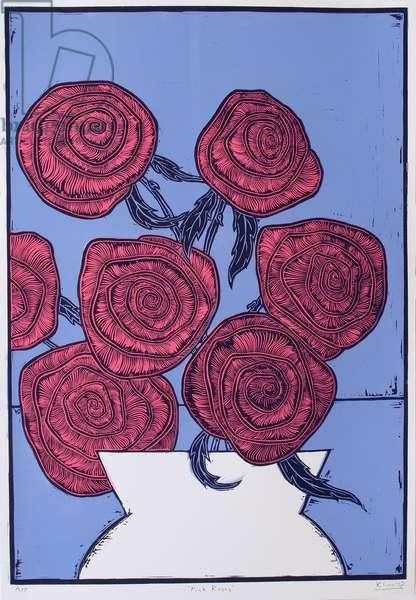 Pink Roses, 2016, (linocut)