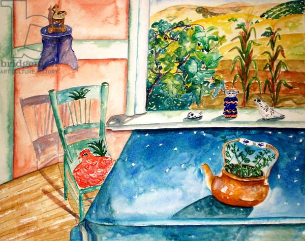 Blue Table, 1997, (watercolor)