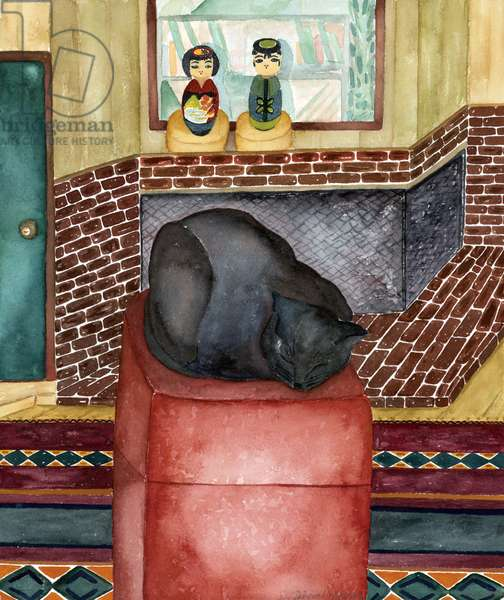 Red Stool, 1998, (watercolor)