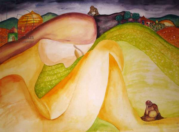 Buddha Hills, 1995, (watercolor)