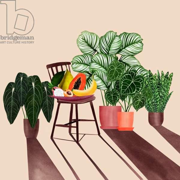 stillife with fruit basket, 2019, digital