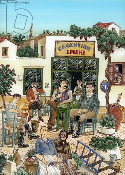Hermes Cafe, 2000 (glass painting)