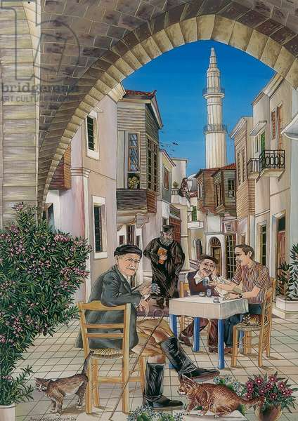 A Corner of Old Rethymnon, Crete, 1989 (glass painting)