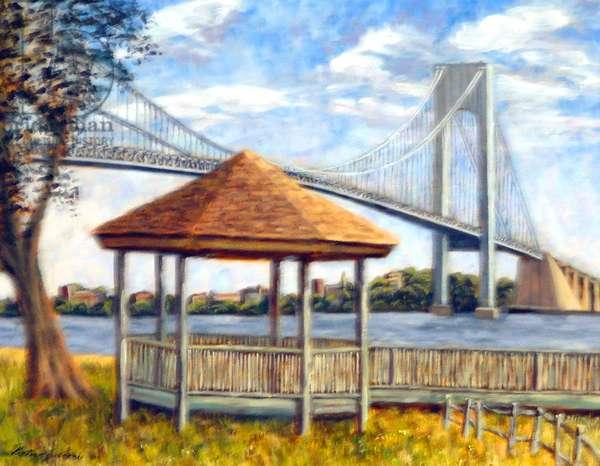 Verrazzano Bridge and Gazebo, 1999, (oil on Canvas)