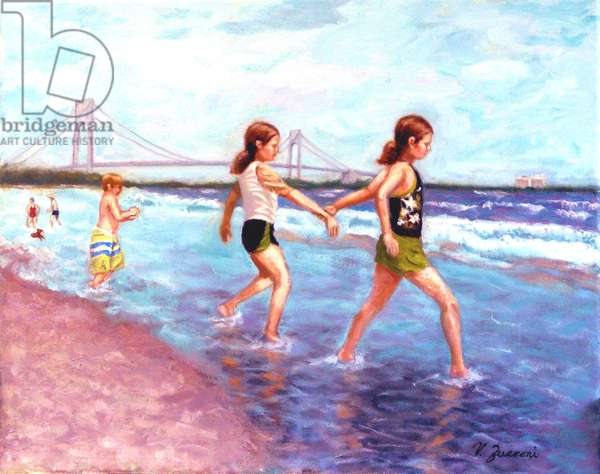 Sisters at the Shore, 2016, (oil on canvas)