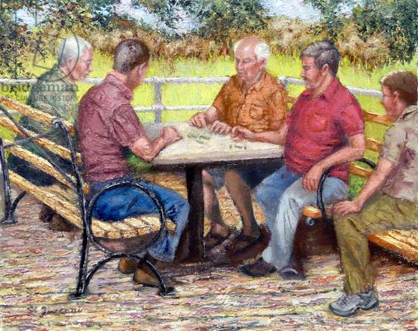 The Domino Players, 2015, (oil on canvas)