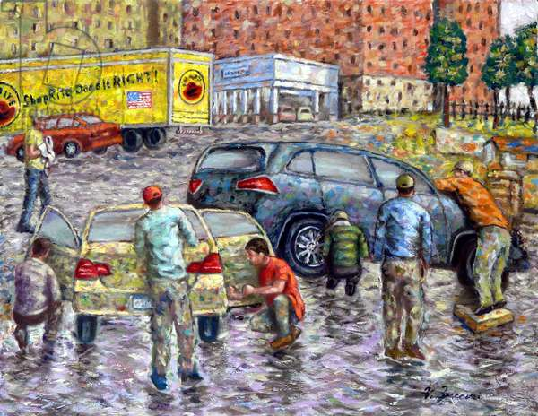 The Car Washers, 2017, (oil on canvas)