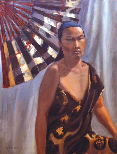 Asian Woman With Fan, 2000; (oil on canvas)