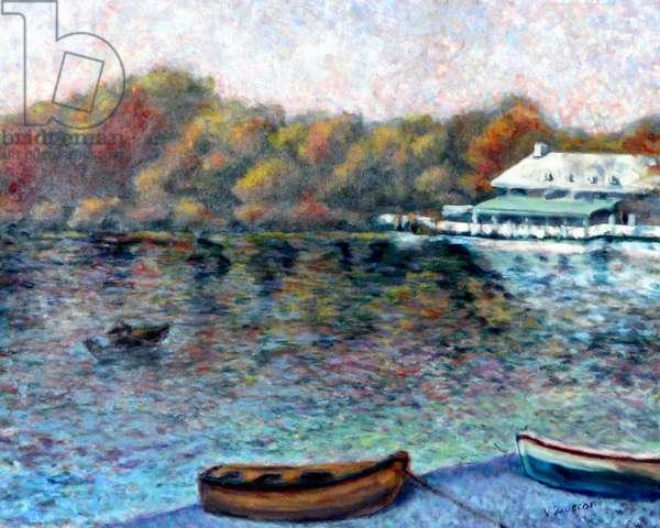 Clove Lake Boat Yard,1998, (oil on canvas)