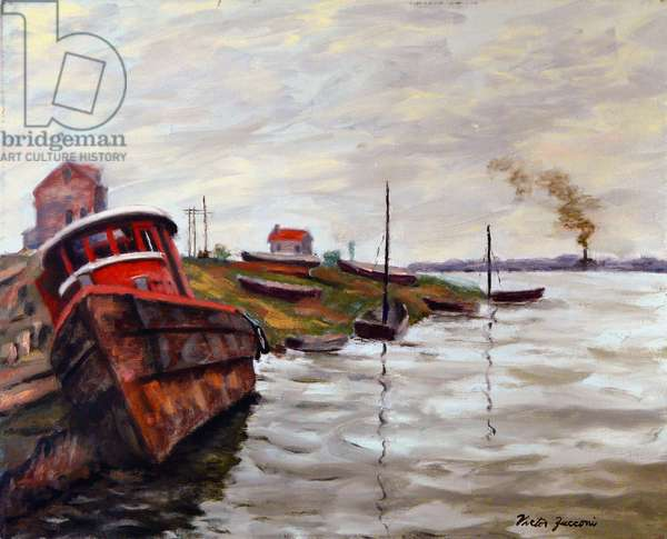 Tugboat Hulks, 2010, (oil on canvas)